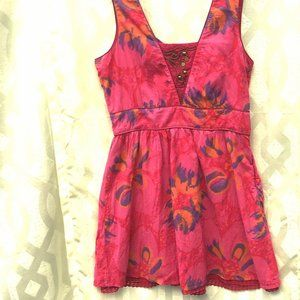 FREE PEOPLE Pink Floral Watercolor Cotton Dress